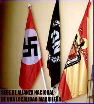 bandera fascista y nazi en la sede de alianza nacional